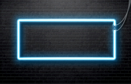 Illustration for Illustration of neon blue banner isolated on black brick wall - Royalty Free Image