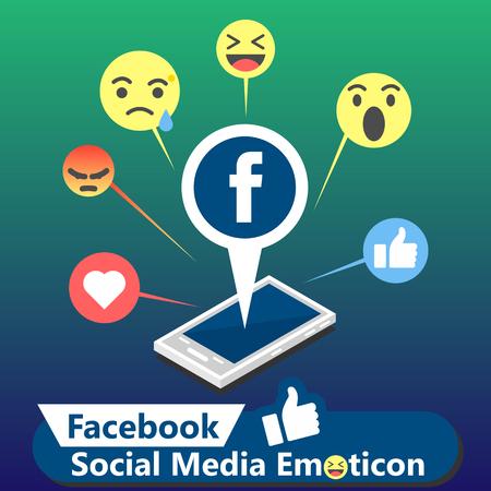 Illustration pour Facebook Social Media Emoticon Background Vector Image - image libre de droit