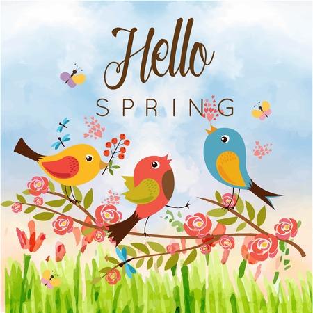 Ilustración de Hello Spring Birds Butterfly Blue Sky Background Vector Image - Imagen libre de derechos