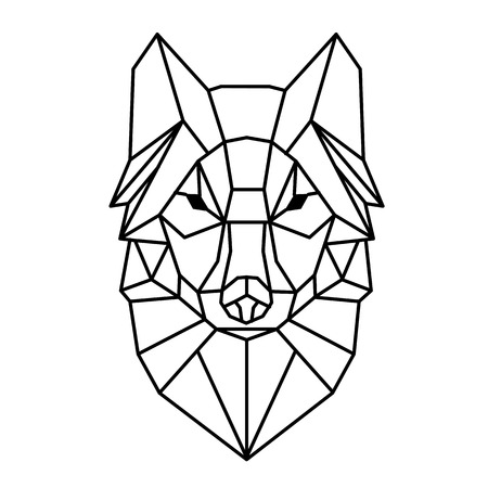Photo pour Modern Geometry Wolf Design Tattoo Vector Image - image libre de droit