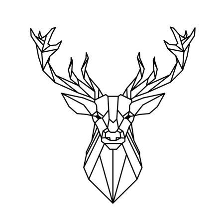 Illustration pour Modern Geometry Reindeer Design Tattoo Vector Image - image libre de droit