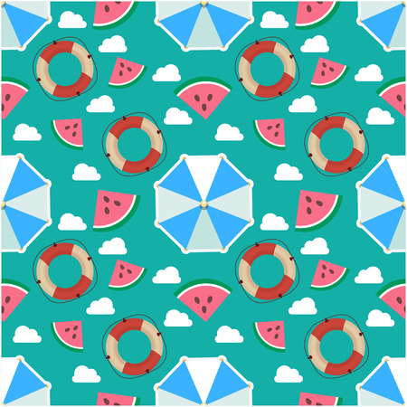 Umbrella, Watermelon, Lifebuoy and Cloud Pattern on Green Background Vector Image