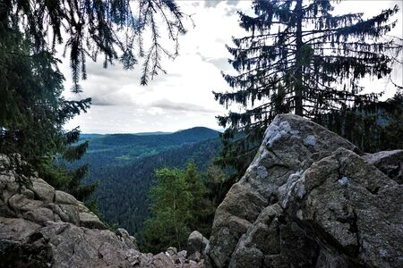 Panorama of the Vosges from the Sentiers des Roches near the Col de la Schlucht, France