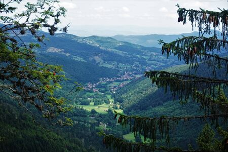 View from the Sentiers des Roches to the valley of La Petite Fecht in direction of Stosswihr, France