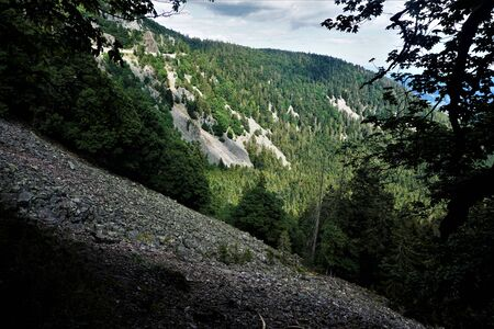 View from the Sentiers des Roches to the flanks of the Col de la Schlucht in the Vosges, France