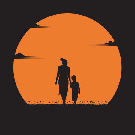 Illustration pour Mother day concept. mother walked in hand with her son in the sunset. holiday, silhouette, vector illustration flat design - image libre de droit