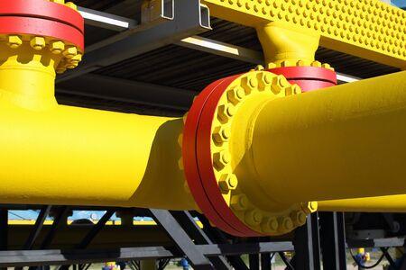 Photo pour Flange connections on the gas pipeline - image libre de droit