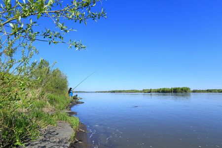 Altai, RUSSIA-MAY 25, 2014: Fishing at the confluence of the Biya and Katun rivers and the beginning of the Ob river in the vicinity of the village of Verkhobskoye