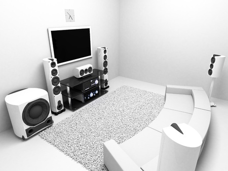 The Room with hi-end audio system TV
