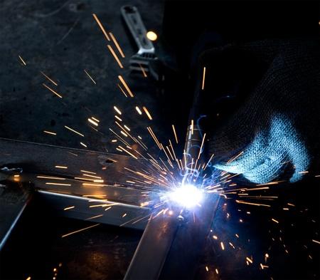 closeup of spot welding process
