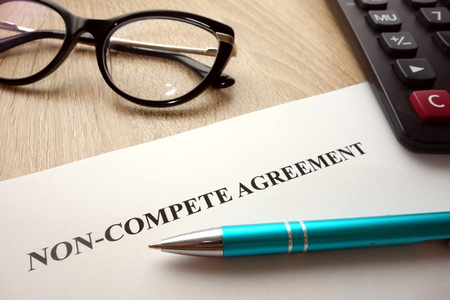 Photo pour Non-compete agreement document for filling and signing on business competition concept - image libre de droit