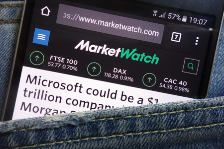 KONSKIE, POLAND - MAY 17, 2018: MarketWatch website displayed on smartphone hidden in jeans pocket