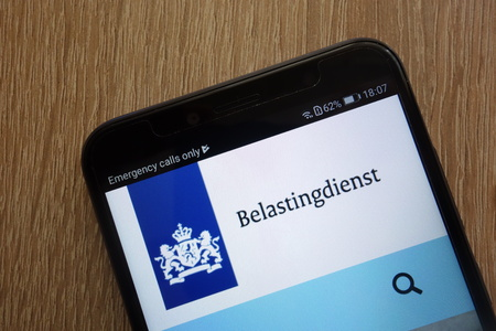 KONSKIE, POLAND - JULY 14, 2018: Belastingdienst (Dutch Tax and Customs Administration) official website displayed on a modern smartphone