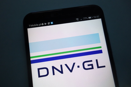 KONSKIE, POLAND - SEPTEMBER 15, 2018: DNV GL logo on smartphone