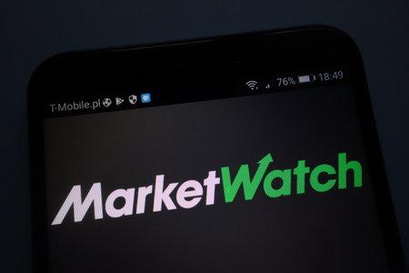 KONSKIE, POLAND - SEPTEMBER 15, 2018: MarketWatch logo on smartphone
