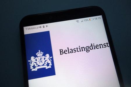 KONSKIE, POLAND - SEPTEMBER 29, 2018: Dutch Tax and Customs Administration (Belastingdienst) on smartphone