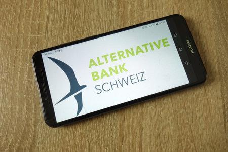 KONSKIE, POLAND - March 14, 2019: Alternative Bank Switzerland (ABS) logo displayed on smartphone