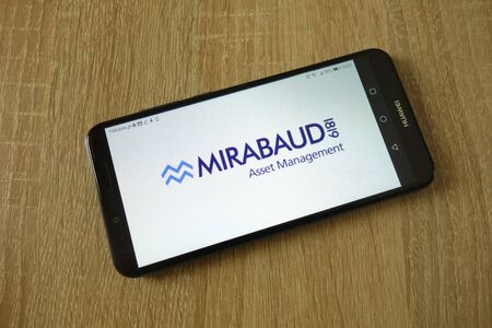 KONSKIE, POLAND - March 16, 2019: Mirabaud Asset Management logo displayed on smartphone