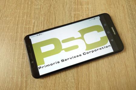 KONSKIE, POLAND - June 21, 2019: Primoris Services Corporation company logo displayed on mobile phone