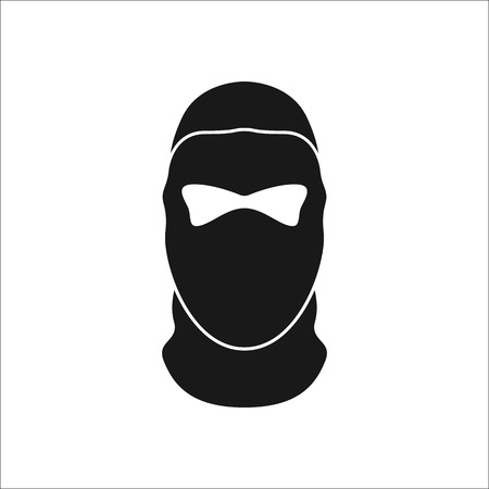 Balaclava mask simple silhouette icon on background