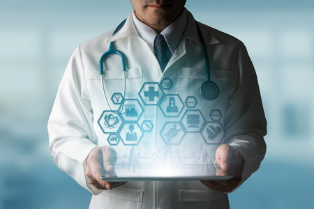 Photo pour Medical Science Concept - Doctor in hospital lab with medical research icons in modern interface showing symbol of medicine innovation, medical treatment, discovery and doctoral analysis. - image libre de droit