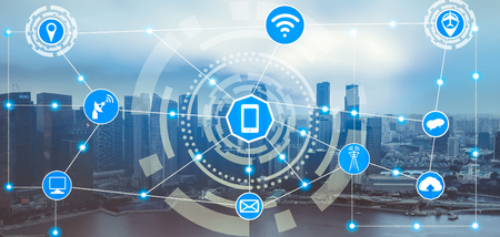 Photo pour Smart city wireless communication network with graphic showing concept of internet of things ( IOT ) and information communication technology ( ICT ) against modern city buildings in the background. - image libre de droit