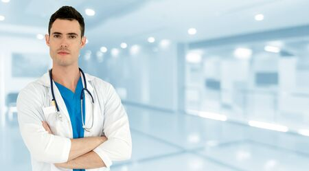 Photo pour Young male doctor working at the hospital. Medical healthcare and doctor staff service. - image libre de droit