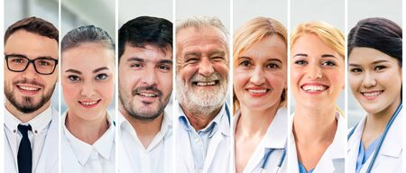 Photo for Healthcare people group. Professional doctor working in hospital office or clinic with other doctors, nurse and surgeon. Medical technology research institute and doctor staff service concept. - Royalty Free Image