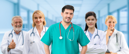 Photo pour Healthcare people group. Professional doctor working in hospital office or clinic with other doctors, nurse and surgeon. Medical technology research institute and doctor staff service concept. - image libre de droit