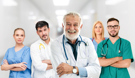Photo pour Healthcare people group. Professional doctor working in hospital office or clinic with other doctors, nurse and surgeon - image libre de droit