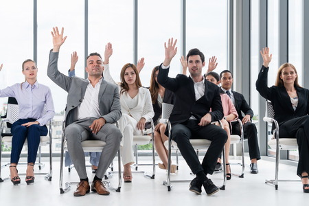 Photo pour Businesswomen and businessmen attending group meeting conference in office room. Corporate business team concept. - image libre de droit