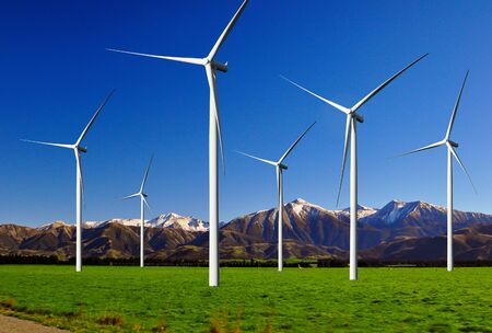 Photo for Wind turbine farm power generator in beautiful nature landscape for production of renewable green energy is friendly industry to environment. Concept of sustainable development technology. - Royalty Free Image