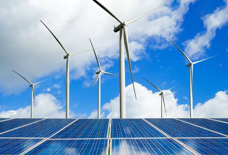 Photo pour Solar energy panel photovoltaic cell and wind turbine farm power generator in nature landscape for production of renewable green energy is friendly industry. Clean sustainable development concept. - image libre de droit