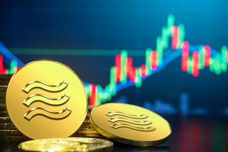 Photo pour Libra cryptocurrency coin newly introduced to world digital money economy. Libra was reported to be used for electronic payment on many partner internet website. - image libre de droit