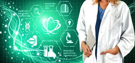 Medical Healthcare Research and Development Concept. Doctor in hospital lab with science health research icon show symbol of medical care technology innovation, medicine discovery and healthcare data.