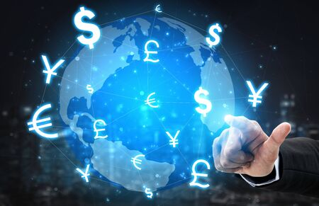 Foto de Currency Exchange Global Foreign Money Finance - International forex market with different world currency symbol conversion. - Imagen libre de derechos