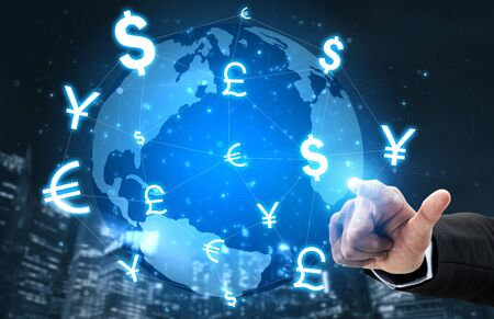 Photo pour Currency Exchange Global Foreign Money Finance - International forex market with different world currency symbol conversion. - image libre de droit