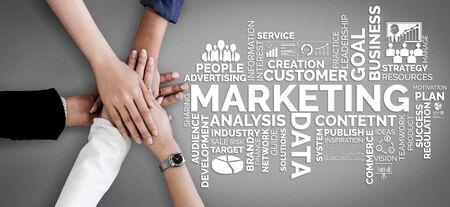 Photo pour Digital Marketing Technology Solution for Online Business Concept - Graphic interface showing analytic diagram of online market promotion strategy on digital advertising platform via social media. - image libre de droit
