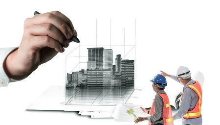 Foto de City civil planning and real estate development - Architect people looking at abstract city sketch drawing to design creative future city building. Architecture dream and ambition concept. - Imagen libre de derechos