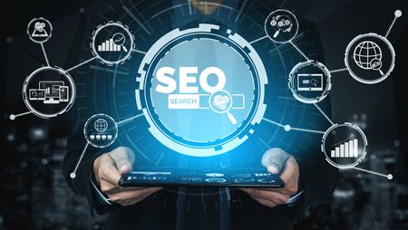Photo pour SEO - Search Engine Optimization for Online Marketing Concept. Modern graphic interface showing symbol of keyword research website promotion by optimize customer searching and analyze market strategy. - image libre de droit