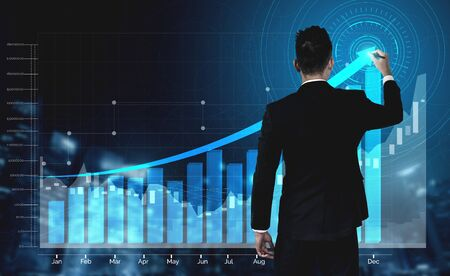Photo pour Double Exposure Image of Business and Finance - Businessman with report chart up forward to financial profit growth of stock market investment. - image libre de droit