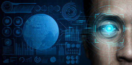 Photo pour Future cyber security data protection by biometrics scanning with human eye to unlock and give access to private digital data. Futuristic technology innovation concept. - image libre de droit