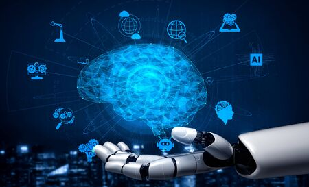 Foto de 3D rendering artificial intelligence AI research of robot and cyborg development for future of people living. Digital data mining and machine learning technology design for computer brain. - Imagen libre de derechos