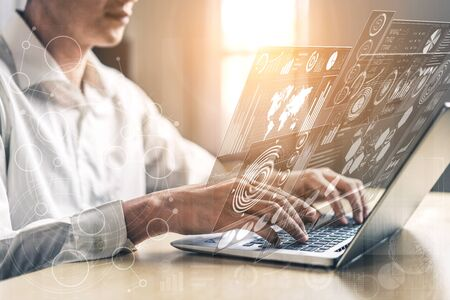 Photo pour Big Data Technology for Business Finance Analytic Concept. Modern graphic interface shows massive information of business sale report, profit chart and stock market trends analysis on screen monitor. - image libre de droit