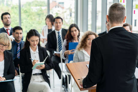 Photo for Group of business people meeting in a seminar conference - Royalty Free Image
