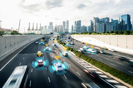 Photo pour Autonomous car sensor system concept for safety of driverless mode car control . Future adaptive cruise control sensing nearby vehicle and pedestrian . Smart transportation technology . - image libre de droit