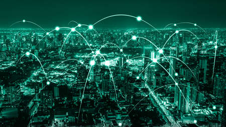 Photo pour The modern creative communication and internet network connect in smart city . Concept of 5G wireless digital connection and internet of things future. - image libre de droit