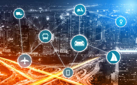 Photo pour Smart transport technology concept for future car traffic on road . Virtual intelligent system makes digital information analysis to connect data of vehicle on city street . Futuristic innovation . - image libre de droit