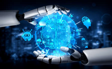 Photo pour 3D rendering artificial intelligence AI research of robot and cyborg development for future of people living. Digital data mining and machine learning technology design for computer brain. - image libre de droit