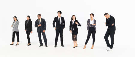 Photo pour Full body portrait of many business people on white background wearing formal business suit in studio collection . - image libre de droit